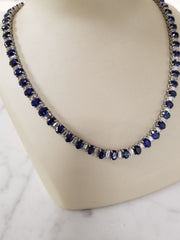 Oval Ceylon Sapphire Necklace Platinum Vintage Estate