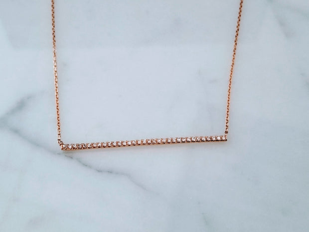 Rose Gold Diamond Bar Necklace