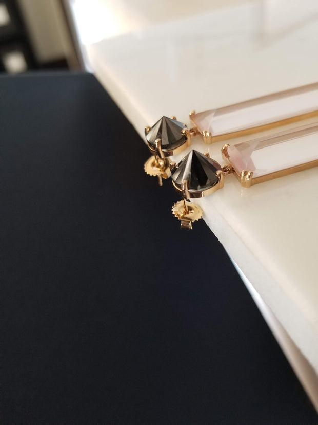 Black Diamond and Rose Quartz Earrings