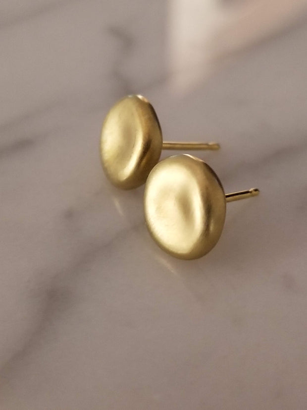 Brushed Satin Finish Earrings Button Earrings