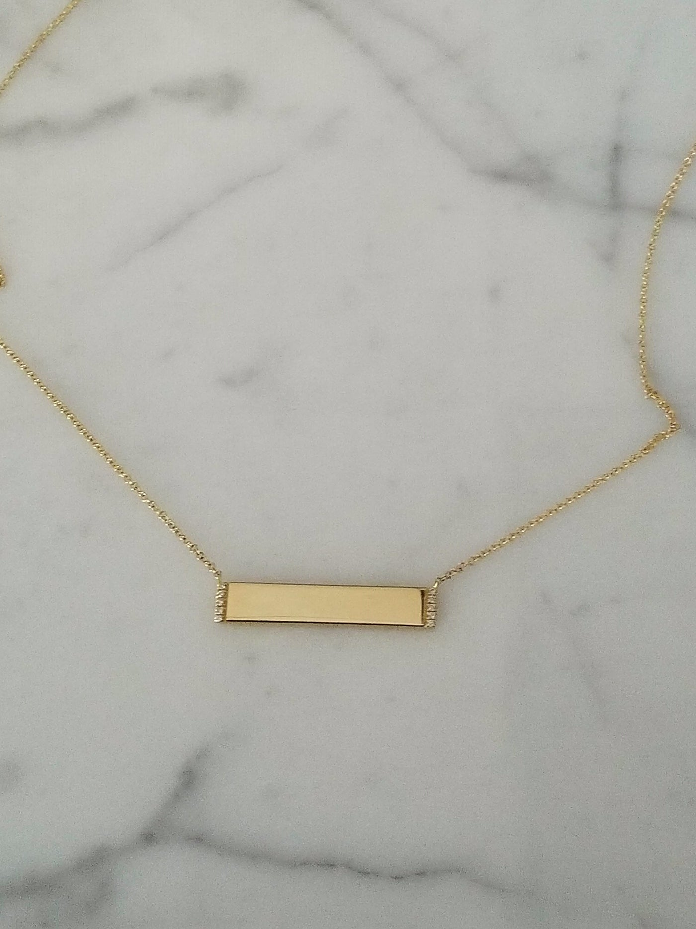 yellow gold engravable diamond bar necklace