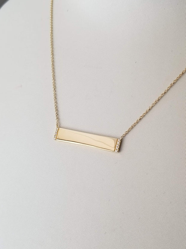 Engravable Diamond Bar Necklace