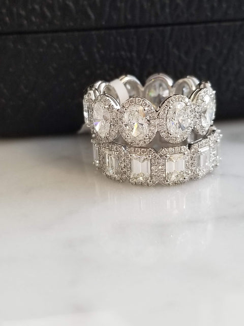 Emerald Cut Diamond Halo Eternity Band