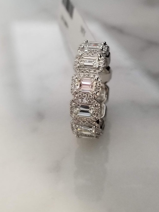 Emerald Cut Halo Diamond Eternity Band Halo Ring Eternity Band Emerald Cut Wedding Ring Wedding Band