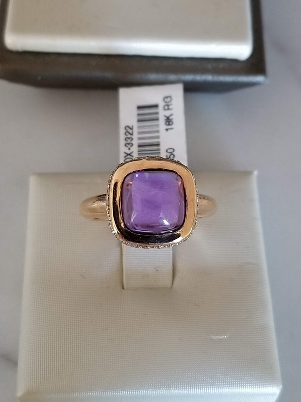 Cabochon Amethyst Ring Diamond Ring Amethyst Rose Gold Ring