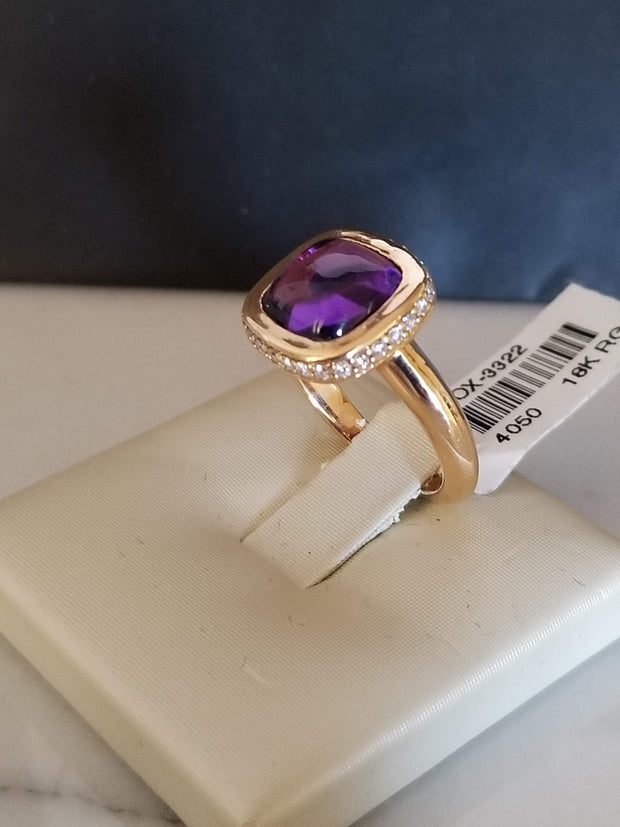 Cabochon Amethyst Ring with Diamonds