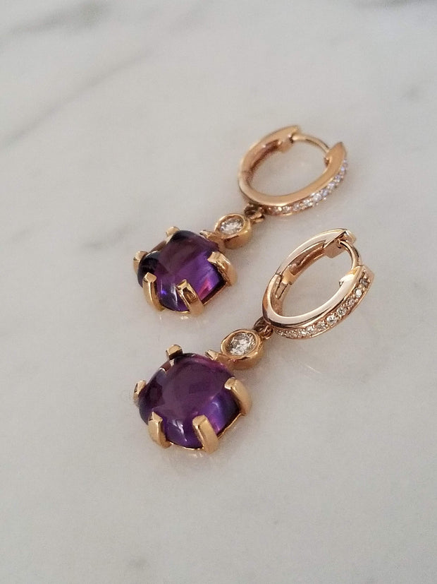Cabochon Amethyst Earrings Rose Gold Earrings Diamond Earrings