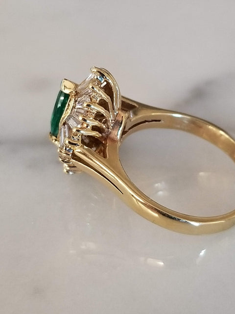 Art Deco Baguette and Marquise Green Emerald Ring