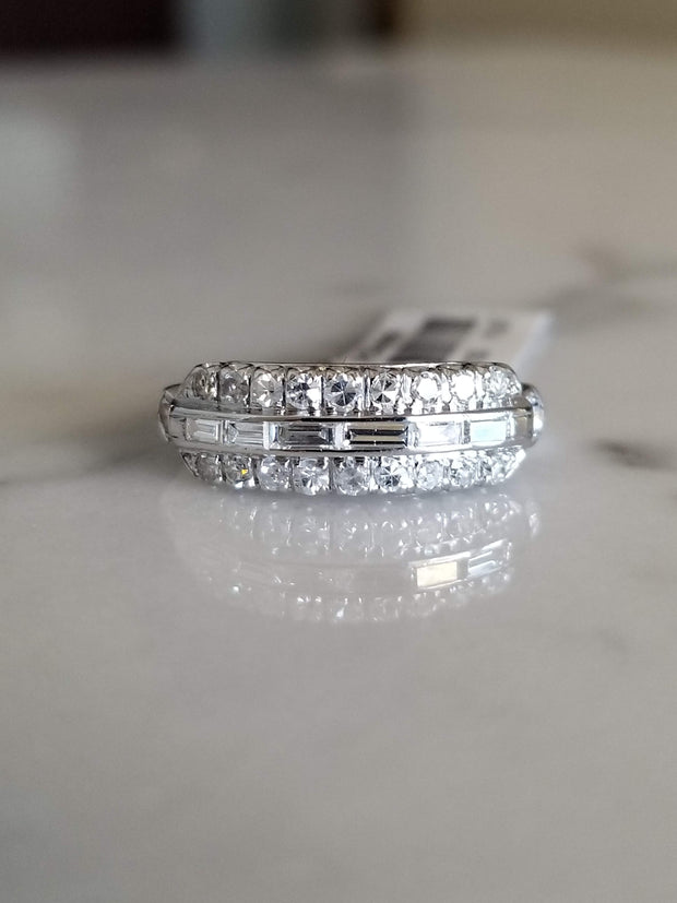 Vintage Baguette and Round Diamond Ring