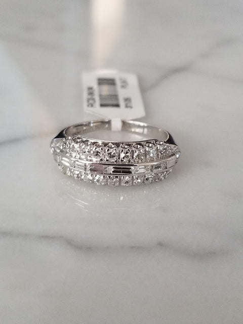 vintage estate ring baguette and round diamond ring platinum ring wedding band