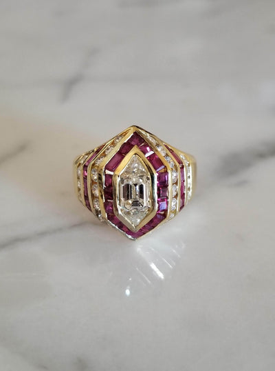 Ruby and Diamond Vintage Estate Ring Cocktail Ring