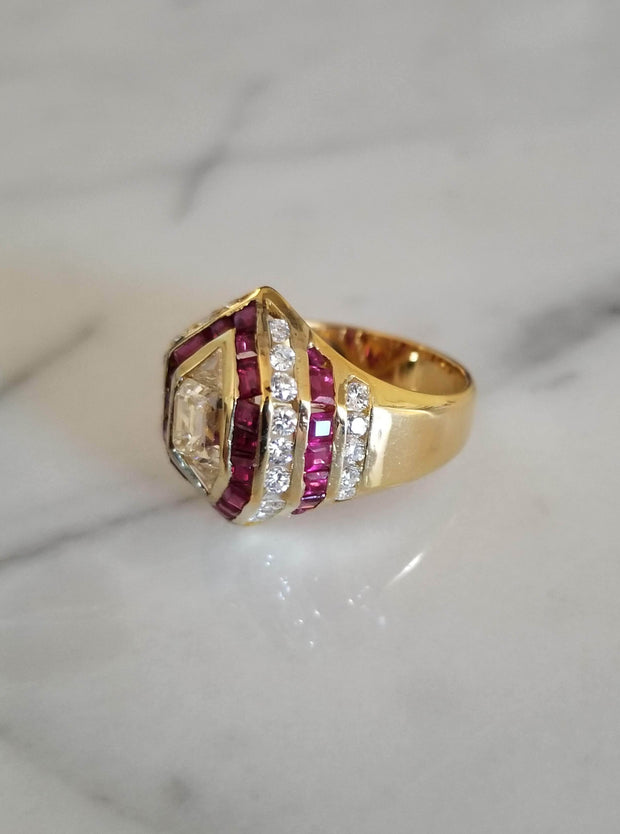 Estate Emerald Cut Diamond and Ruby Ring