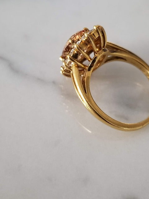 Imperial Topaz and Diamond Ring