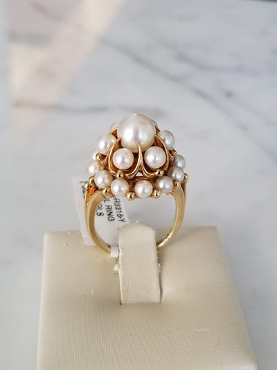 vintage pearl ring cocktail pearl ring