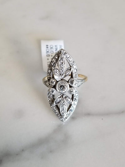 Vintage Estate Diamond Ring Long Cocktail Ring