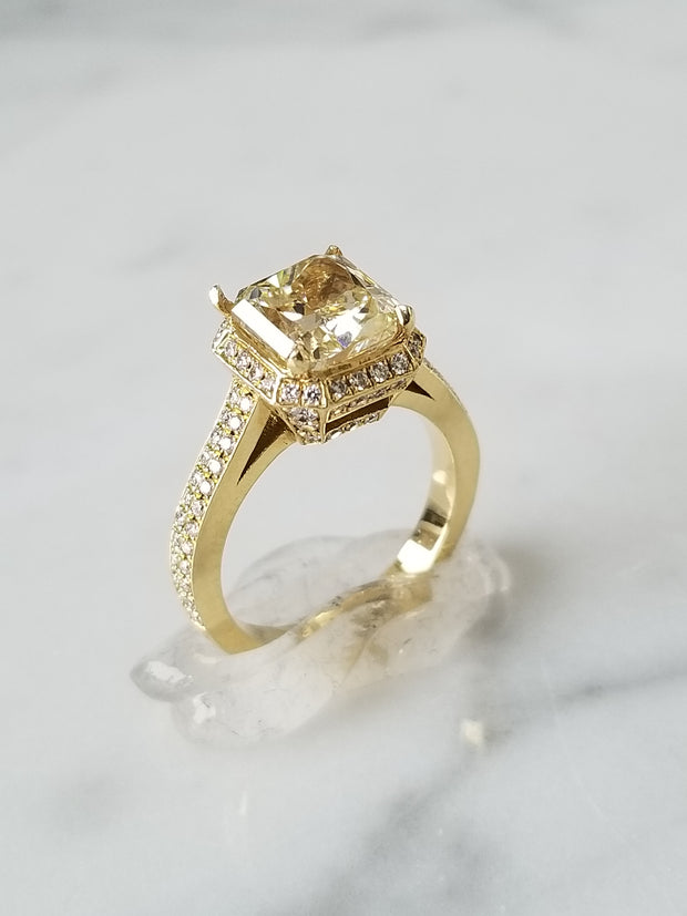 2.51CT Radiant Cut Fancy Yellow Diamond Ring