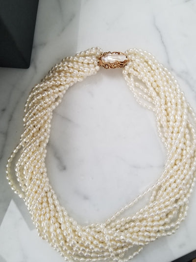 Rice Pearl Torsade Necklace