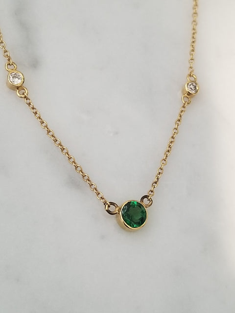 Tsavorite and Diamond Necklace