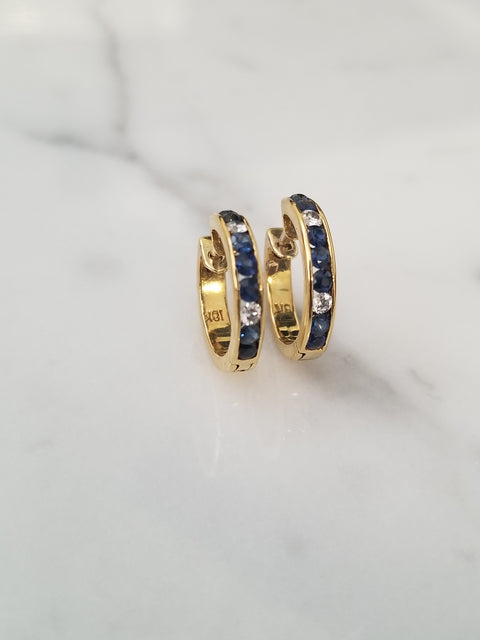 Sapphire and Diamond Hoop Earrings (Small)