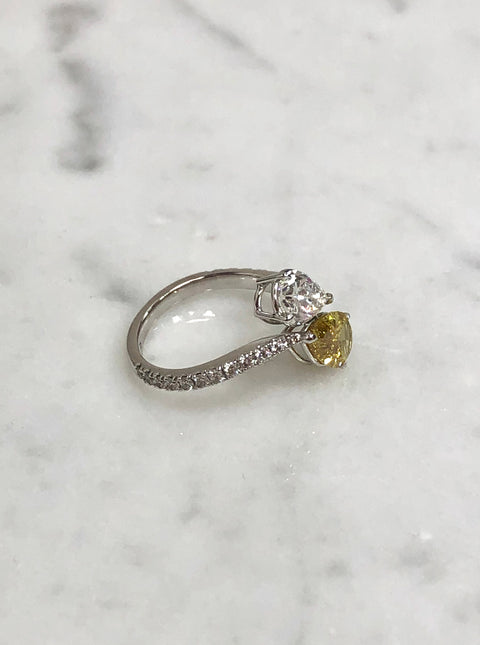 Pear Shape Diamond Bypass Ring