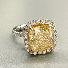 5.04ct Fancy Yellow Cushion Cut Diamond - VS2