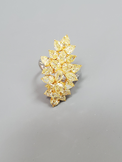 Fancy Vivid Yellow Pear Shape Diamond Cluster Ring