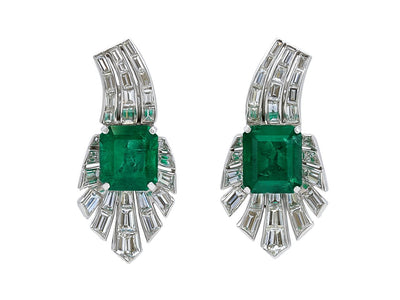 Green Emerald and Baguette Diamond Earrings