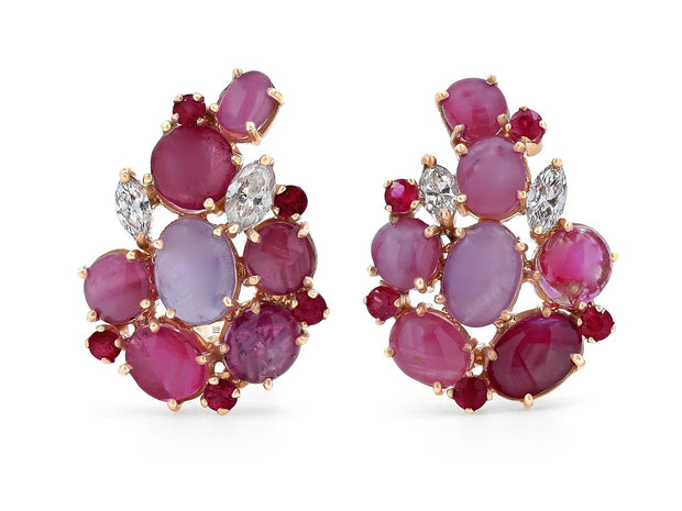 Cabochon & Star Ruby Earrings