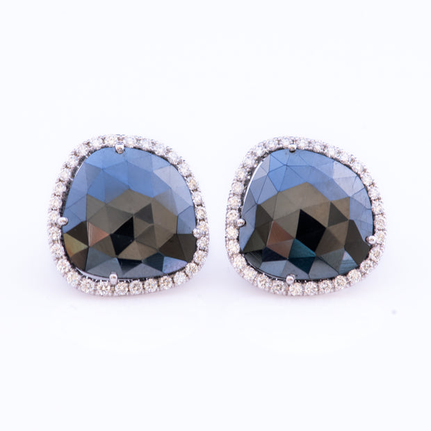 Black Spinel Halo Stud Earrings