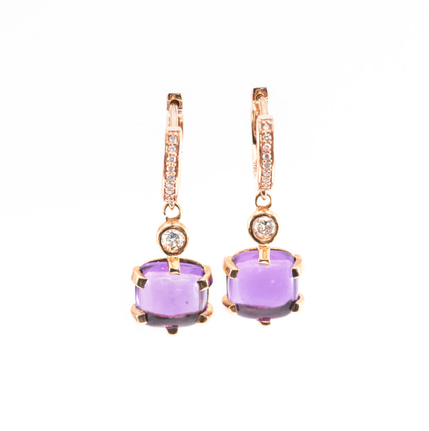 Cabochon Amethyst Earrings