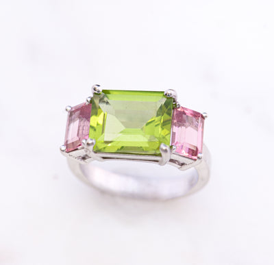 Peridot and Pink Sapphire Ring