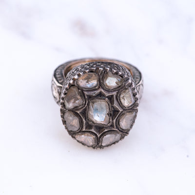 Uncut Natural Diamond Slice Ring