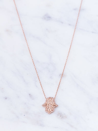Rose Gold Hamza Hand Necklace
