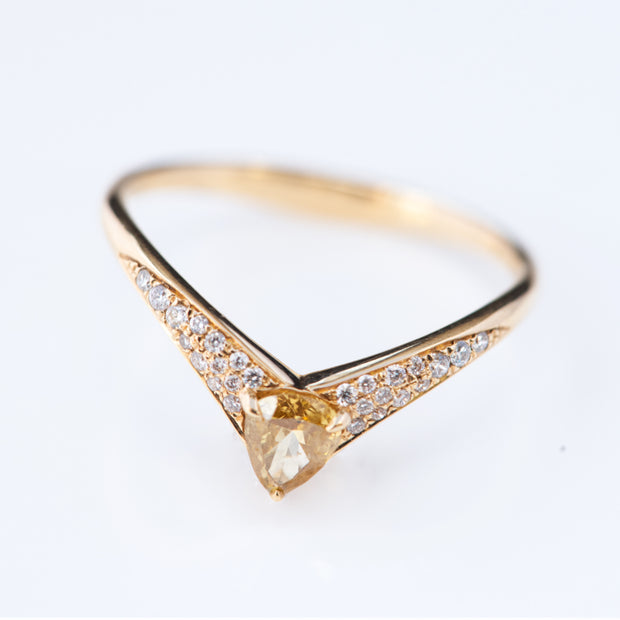 Pear Shape Yellow Diamond Ring