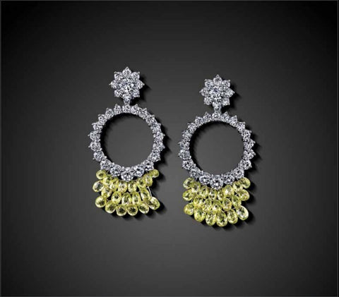 WHITE DIAMOND AND NATURAL YELLOW BRIOLETTE EARRINGS