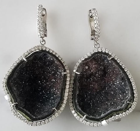 Black Geode Earrings with Diamond Halo