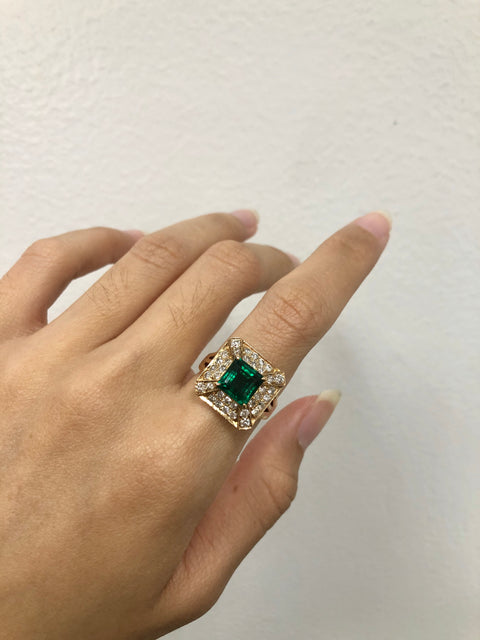 Green Emerald Estate Ring