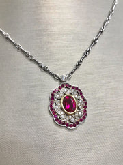 Oval Red Diamond Necklace