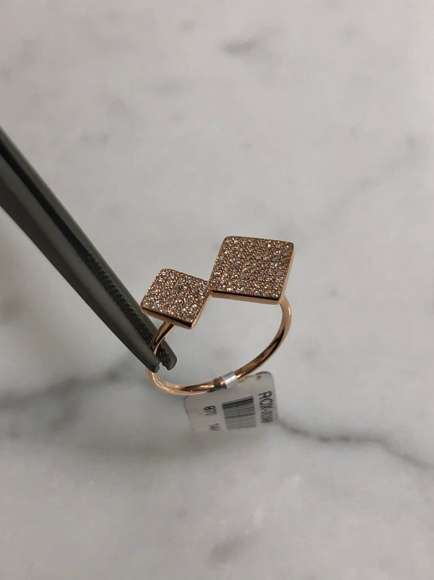 2 Square Rose Gold Ring