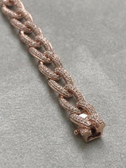 Rose Gold Diamond Pave Cuban Bracelet