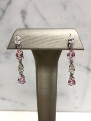 Padparadscha & Diamond Dangling Earrings