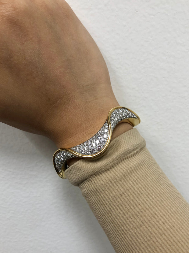 Wave Diamond Bangle