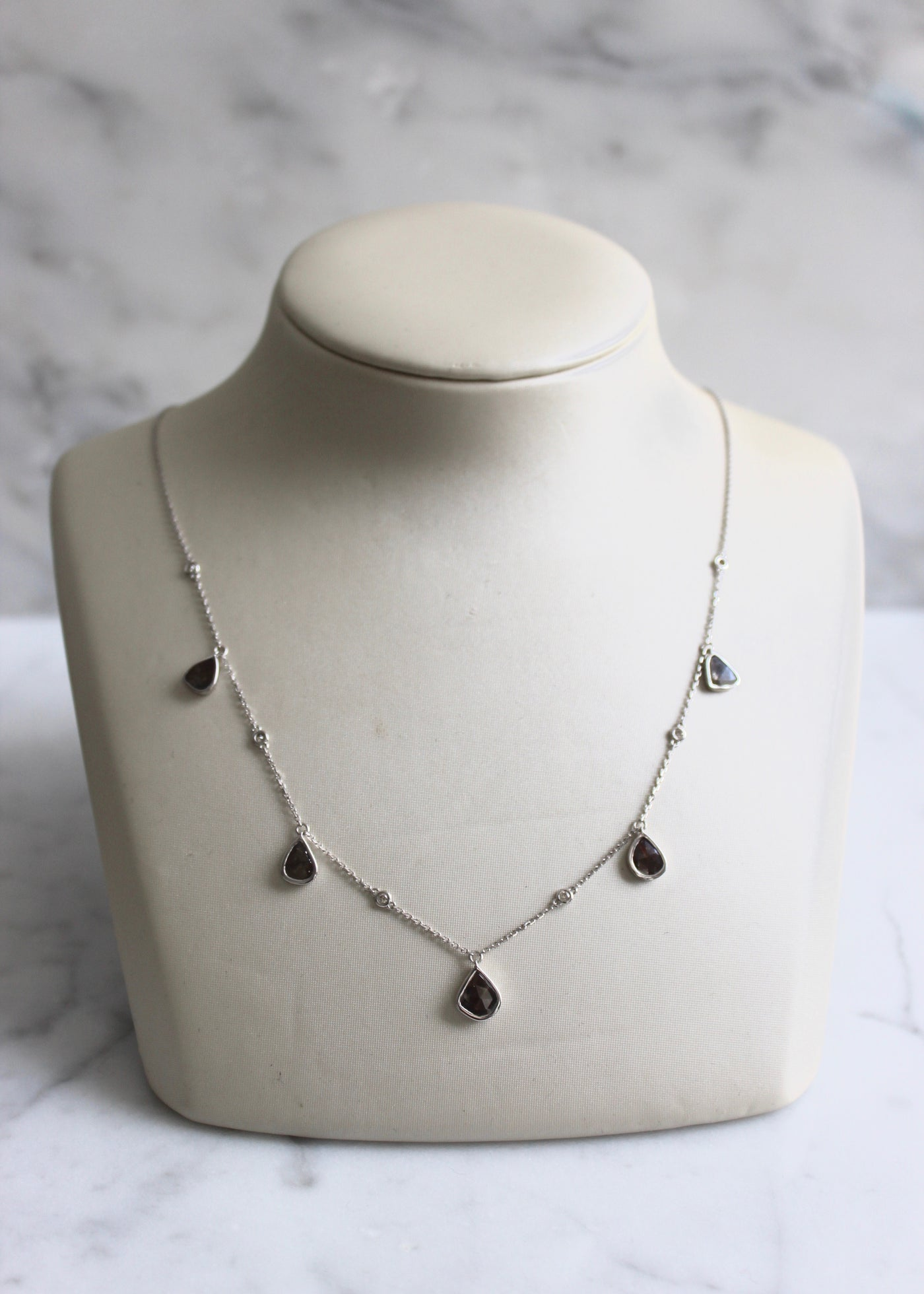 White Gold Diamond Slice Necklace