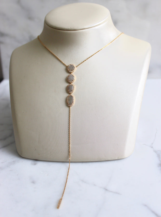 Drop Yellow Gold Diamond Slice Necklace