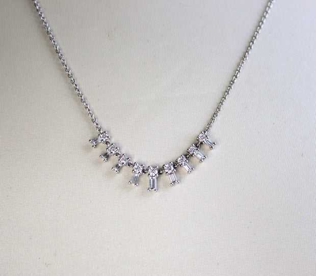 White Gold Baguette Necklace