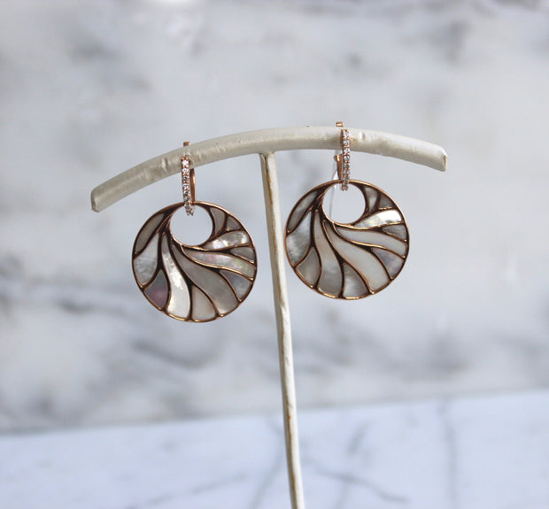 Large Rose Gold Mother of Pearl Earrings