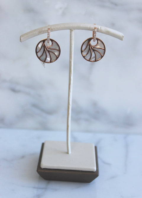 Small Rose Gold Mother of Pearl Earrings