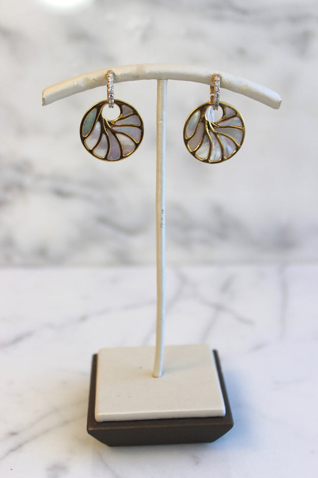 Medium Yellow Gold Mother of Pearl Earrings