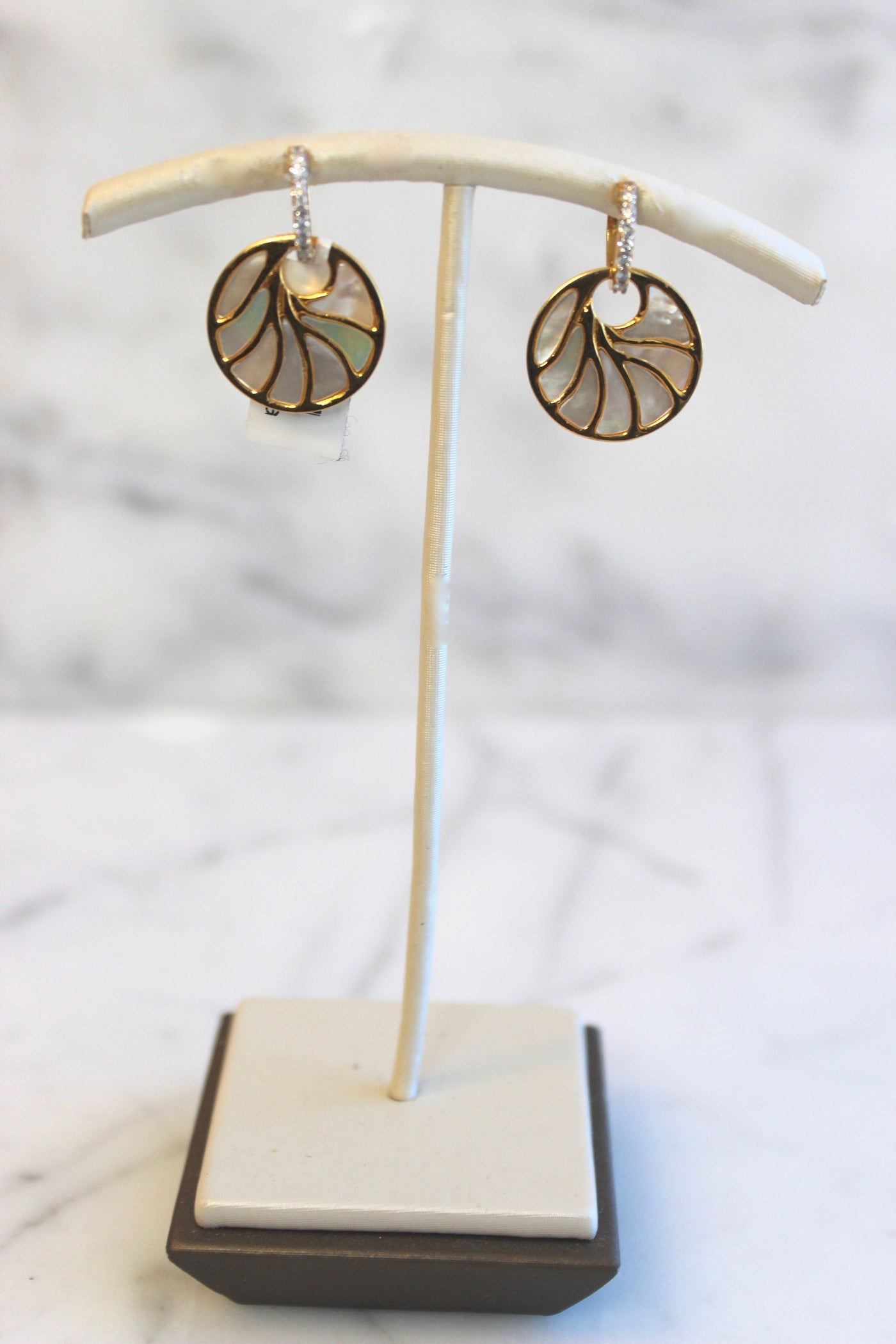 Small Yellow Gold Mother of Pearl Earrings