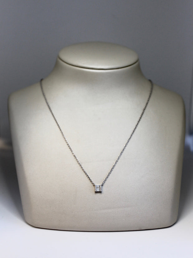 Square Diamond Baguette Pendant